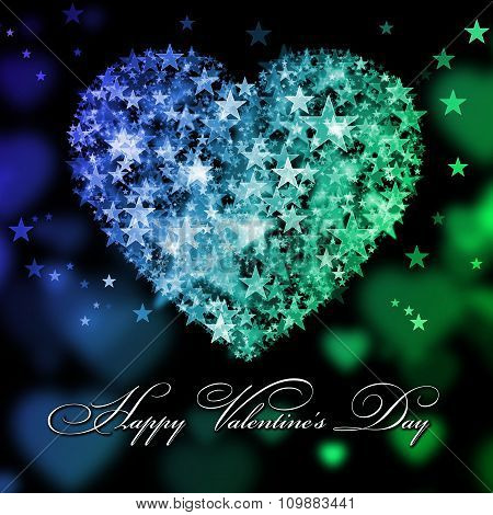 Happy Valentine's Day. Blue And Green Heart With The Stars