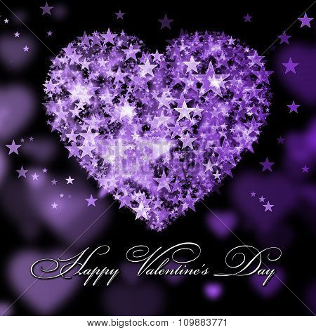 Happy Valentine's Day.purple Heart With The Stars
