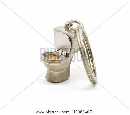 Isolated Toilet Keychain Opened