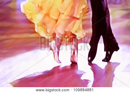 Ballroom yellow dress dancer