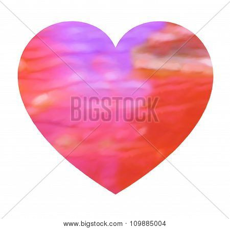 Heart with abstract digital paint in happy colors