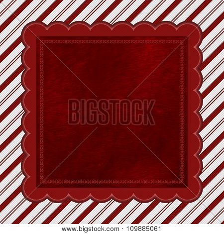 Red And White Striped Candy Cane Striped Background With Red Plush