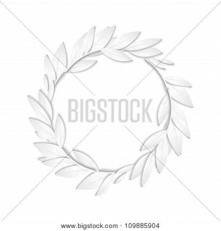Circular frame of white paper branches and leaves on white background. New Year cards background