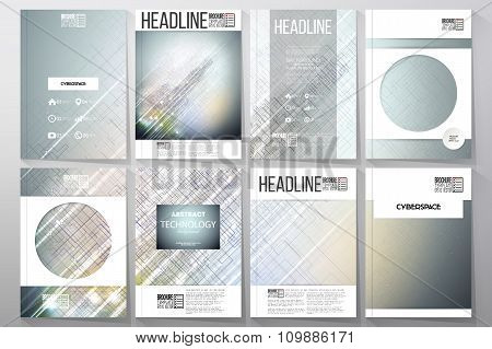 Set of business templates for brochure, flyer or booklet. Abstract science, technology vector backgr