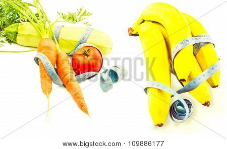 Vegetables And Banana Wrapped In Measuring Tape