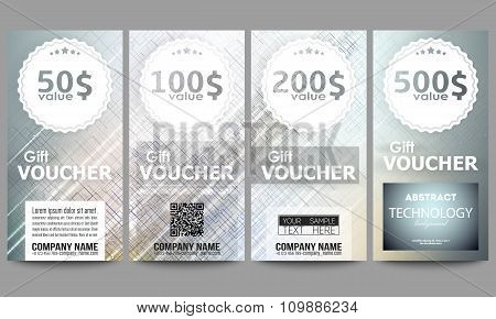 Set of modern gift voucher templates. Abstract science or technology vector background