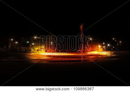 Evening Photo Of Roundabout In Litomerice City