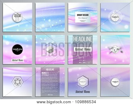 Set of 12 creative cards, square brochure template design. Abstract wave vector background