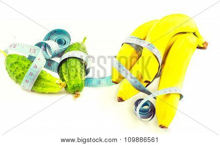 Cucumber And Banana Wrapped In Measuring Tape