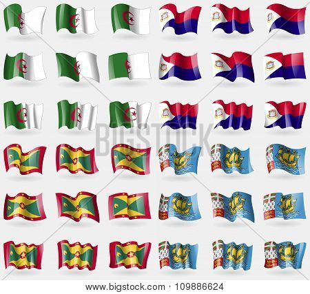 Algeria, Saint Martin, Grenada, Saint Pierre And Miquelon. Set Of 36 Flags Of The Countries Of The
