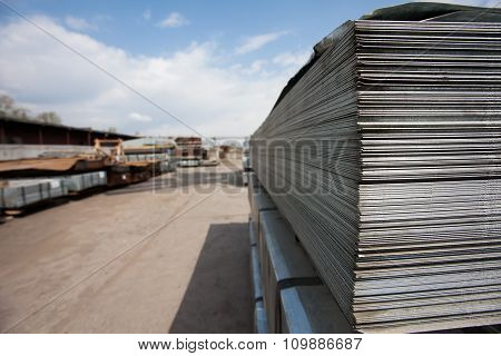 Steel plates at construction