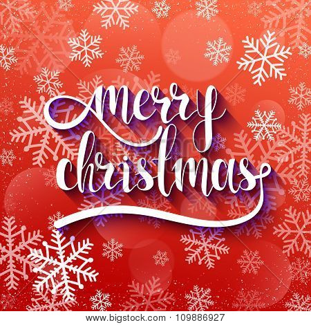Merry Christmas. Festive red background with calligraphic greeting voluminous text