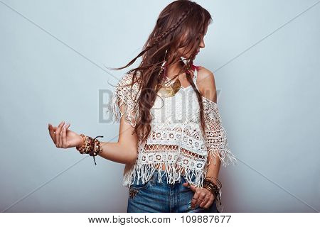 Beautiful Young Hippie Woman