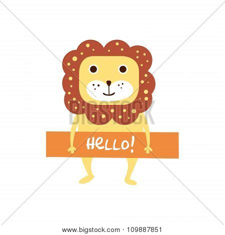 Cute lion with a sign for text