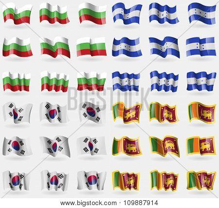 Bulgaria, Honduras, Korea South, Sri Lanka. Set Of 36 Flags Of The Countries Of The World.