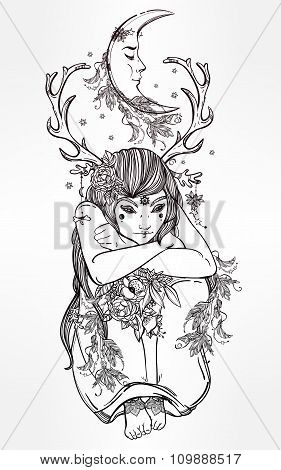 Nature fairy woman boho illustration.