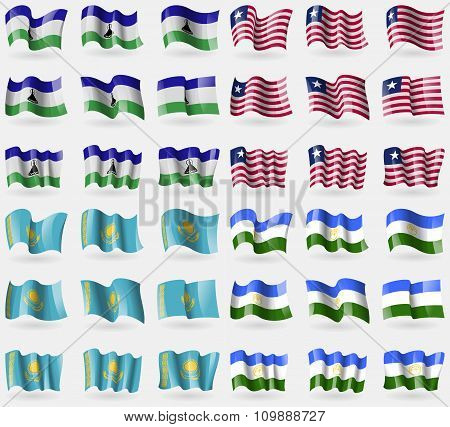 Lesothe, Liberia, Kazakhstan, Bashkortostan. Set Of 36 Flags Of The Countries Of The World.