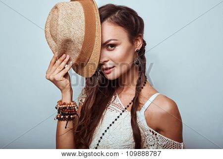 Portrait Of Beautiful Young Hippie Woman
