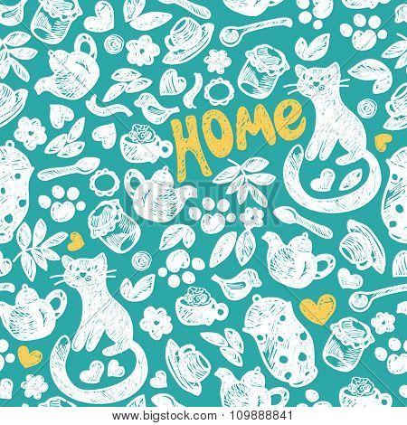 Sweet Home seamless pattern. Grunge hand drawing.
