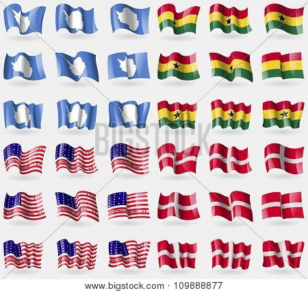 Antarctica, Ghana, Bikini Atoll, Military Order Malta. Set Of 36 Flags Of The Countries Of The