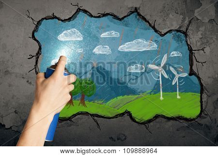 Hand drawing colorful future image on the wall