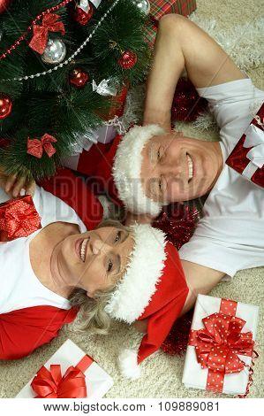 Elderly couple celebrating new year