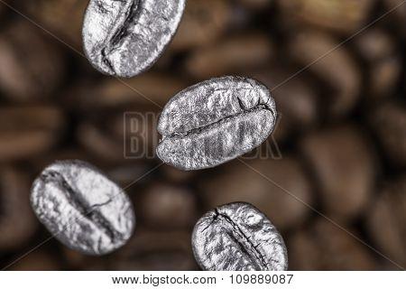 falling coffee beans closeup