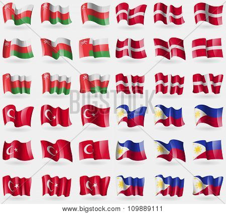 Oman, Military Order Malta, Turkey, Philippines. Set Of 36 Flags Of The Countries Of The World.