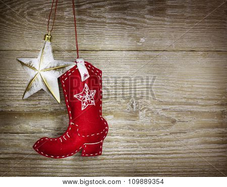 Cowboy Christmas Background On Wood Texture
