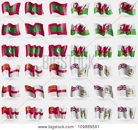 Maldives, Wales, Sark, British Antarctic Territory. Set Of 36 Flags Of The Countries Of The World.