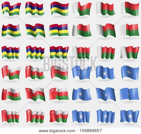 Mauritius, Madagascar, Oman, Somalia. Set Of 36 Flags Of The Countries Of The