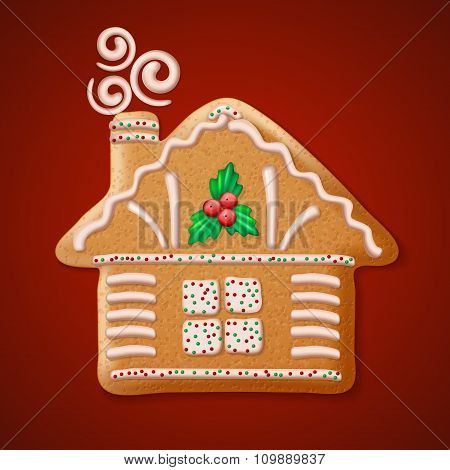 Ornate realistic vector traditional Christmas gingerbread house. Vector illustration