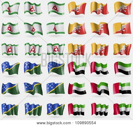 Ingushetia, Bhutan, Solomon Islands, United Arab Emirates. Set Of 36 Flags Of The Countries Of The