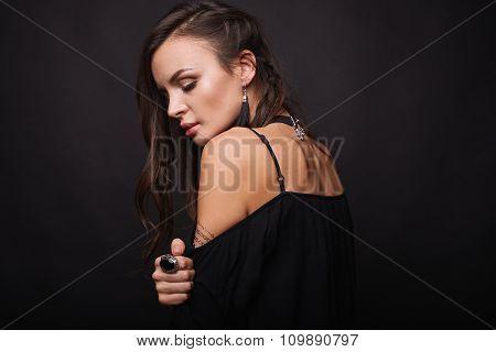 Studio Portrait Of A Sexy Brunette
