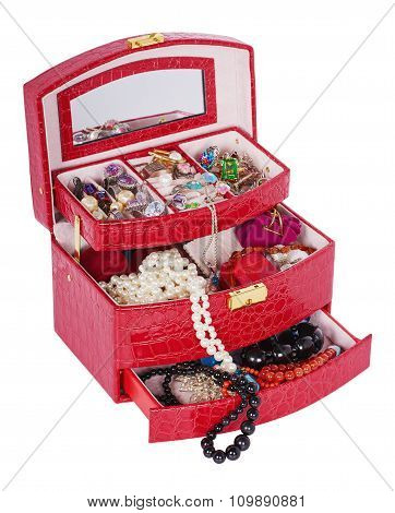 Open Red Box With Jewelry