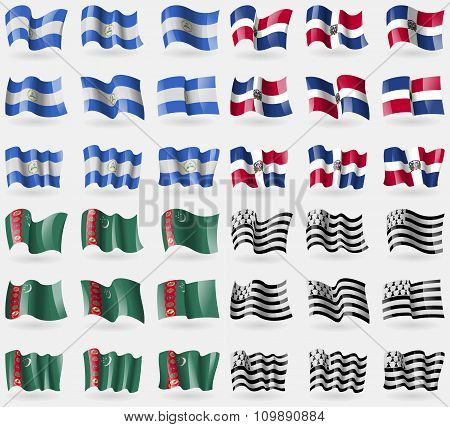 Nicaragua, Dominican Republic, Turkmenistan, Brittany. Set Of 36 Flags Of The Countries Of The