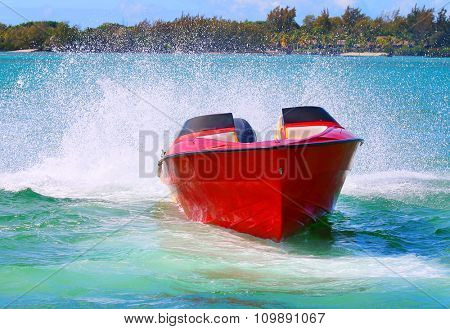 Fast motor boat on Indian Ocean near Ile Aux Cerfs Island ( Mauritius Island).