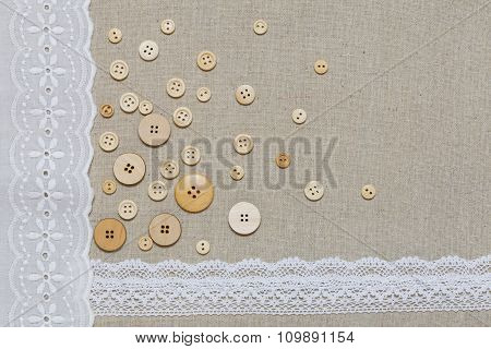 Natural Linen Texture With White Lace And Buttons