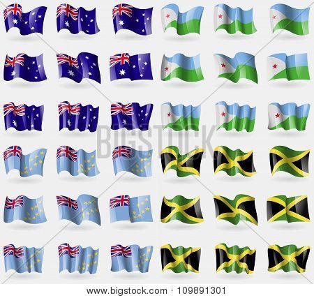 Australia, Djibouti, Tuvalu, Jamaica. Set Of 36 Flags Of The Countries Of The World.