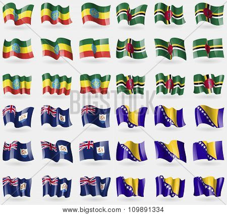 Ethiopia, Dominica, Anguilla, Bosnia And Herzegovina. Set Of 36 Flags Of The Countries Of The