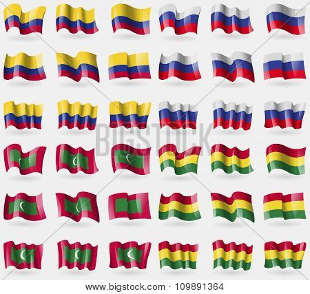 Colombia, Russia, Maldives, Bolivia. Set Of 36 Flags Of The Countries Of The World.