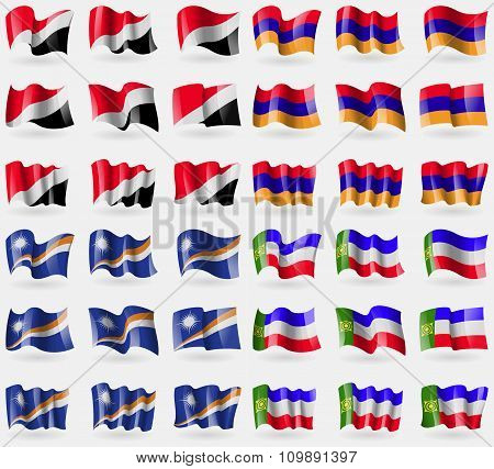 Sealand Principality, Armenia, Marshall Islands, Khakassia. Set Of 36 Flags Of The Countries Of