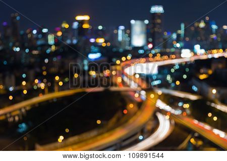 Night blurred boken background city downtown and highway interchanged