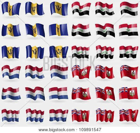 Barbados, Iraq, Netherlands, Bermuda. Set Of 36 Flags Of The Countries Of The World.