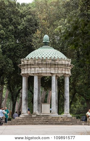 ROME,  ITALY - JUNE 14 2015: Temple of Diana in garden of Villa Borghese. Rome Italy