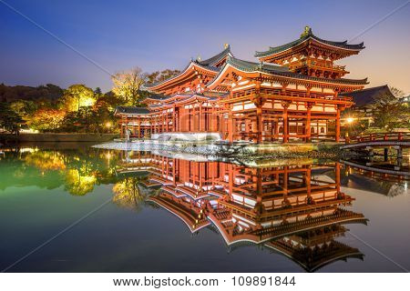 Uji, Kyoto, Japan at Byodo-in's Phoenix hall.