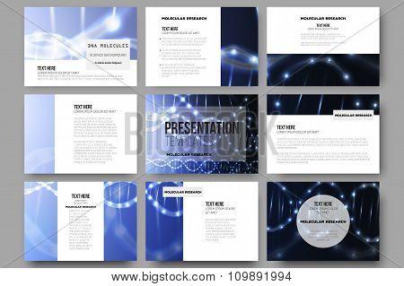 Set of 9 vector templates for presentation slides. DNA molecule structure on dark background.