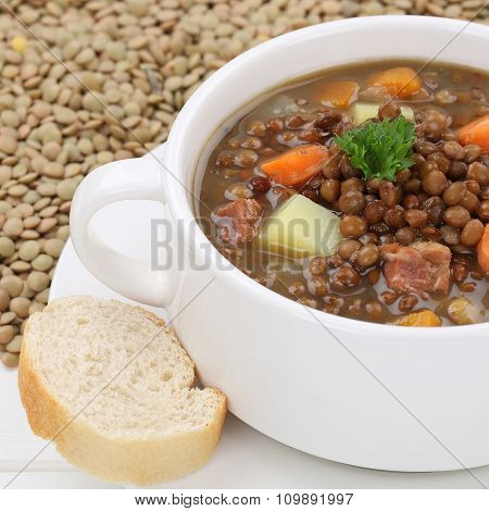 Lentil Soup Stew With Many Lentils Closeup Healthy Eating
