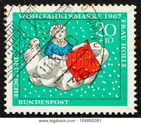 Postage Stamp Germany 1967 Mother Hulda Is Making Her Bed, Scene