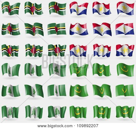 Dominica, Saba, Norfolk Island, Mauritania. Set Of 36 Flags Of The Countries Of The World.